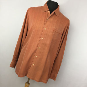 Tommy Bahama XL Shirt Silk Rust Orange Stripe
